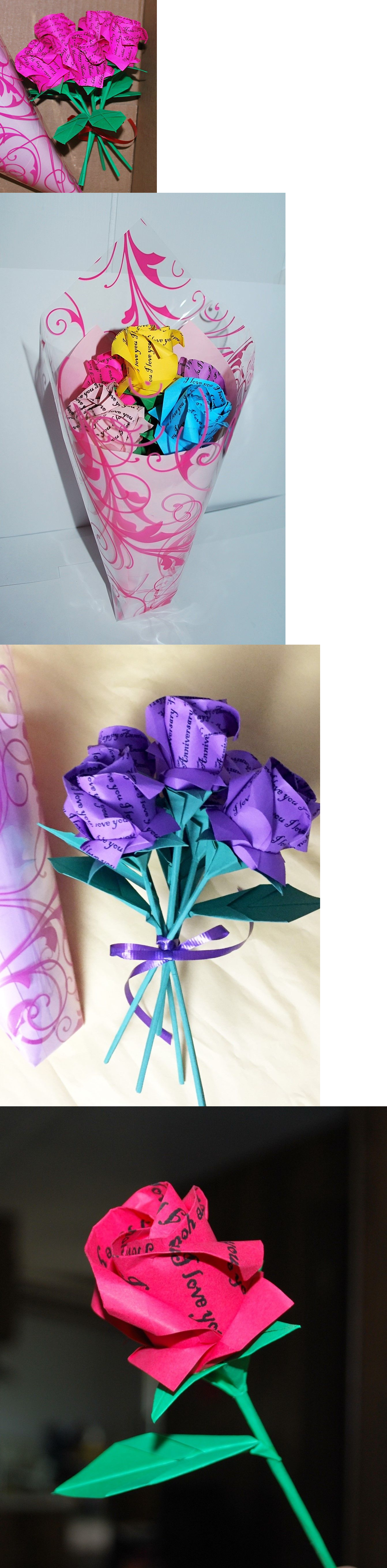 Origami 134596 5 Origami Wording Roses Paper Flower Bouquet