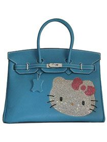 Hermes Birkin Hello Kitty 35CM Togo Leather Bag Blue HK0001 This Hermes  birkin hello kitty looks fe0ebc0ed9d86