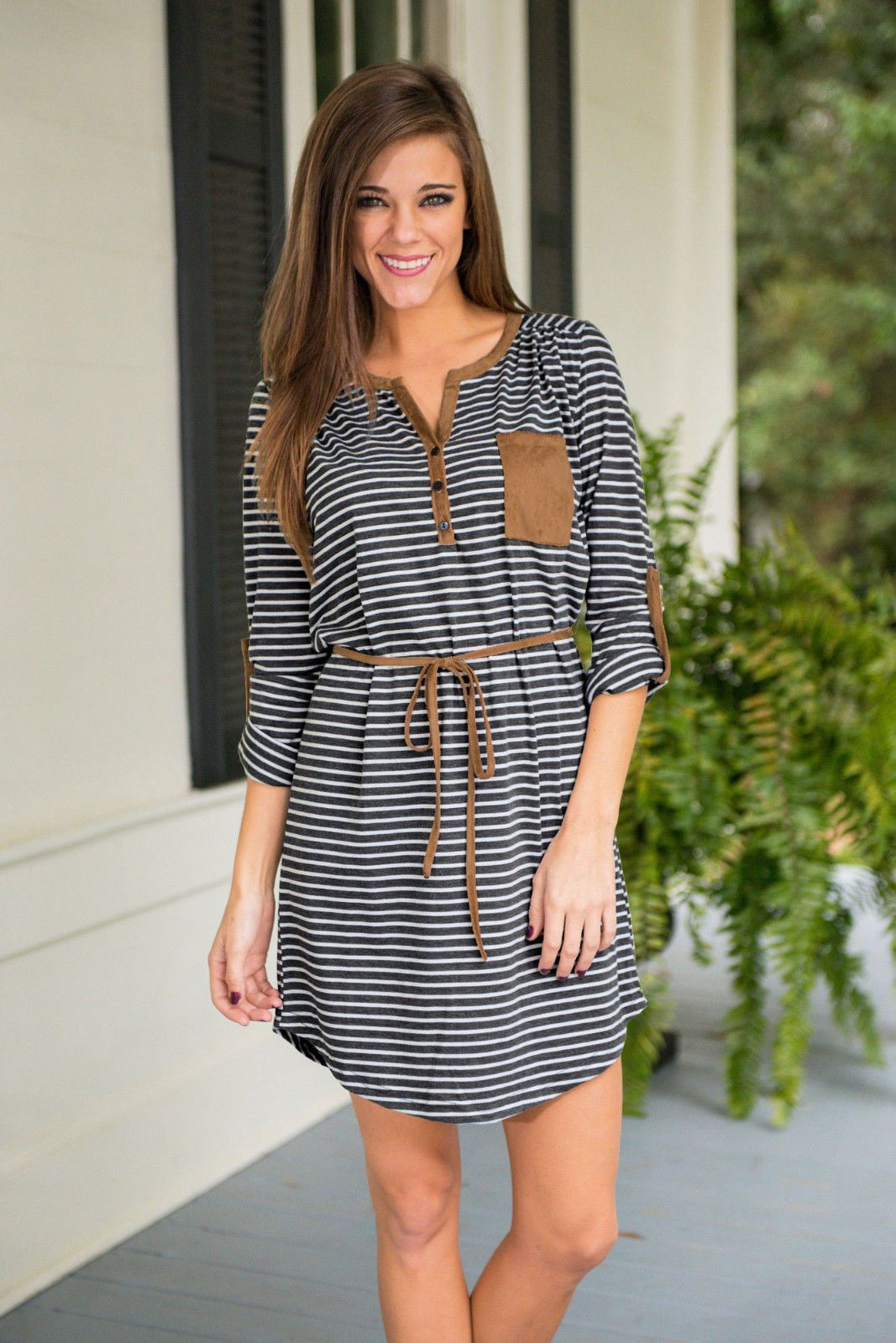 Awesome new women summer casual long sleeve striped beach dress