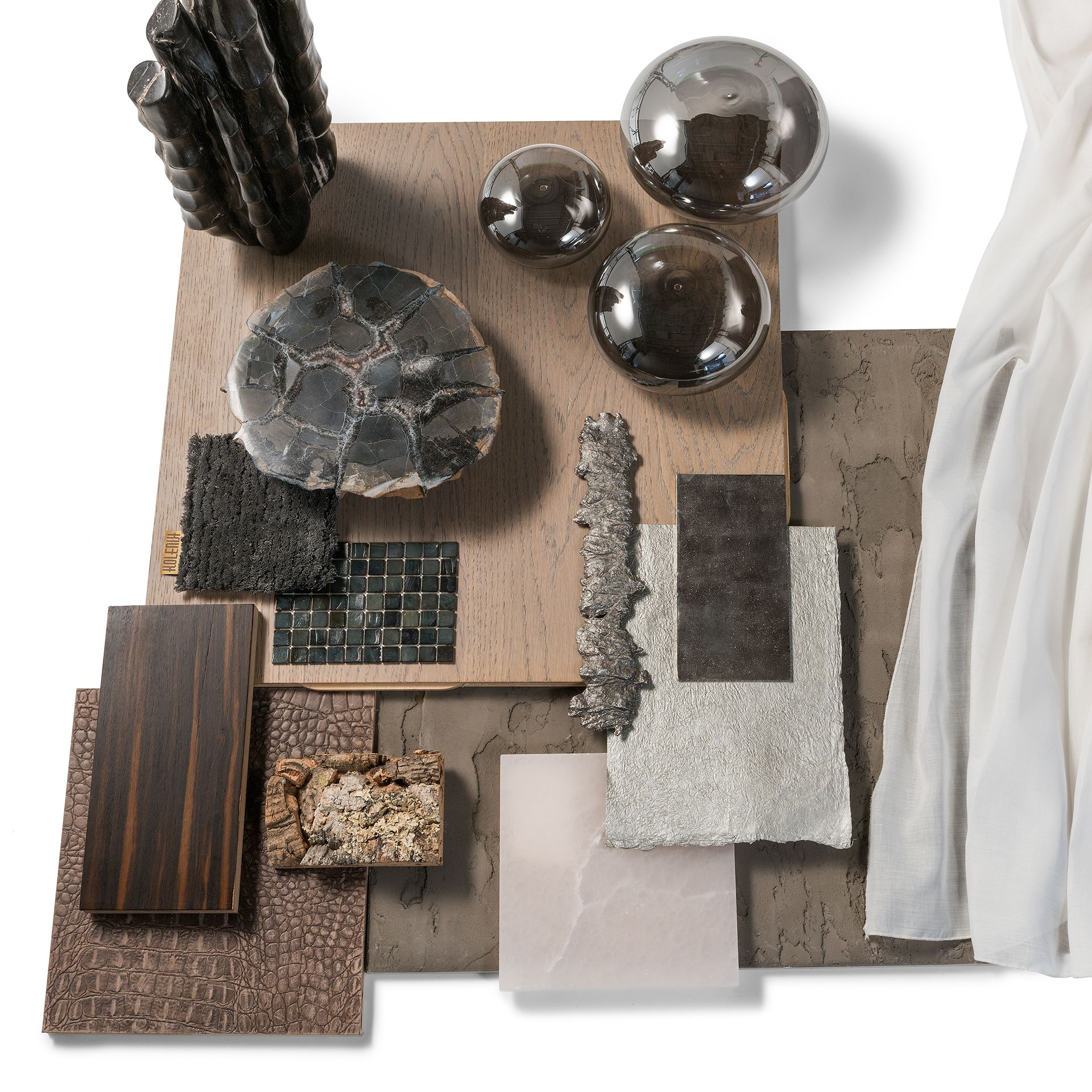 Moodboard Materials Inspiration Brown Silver Colours