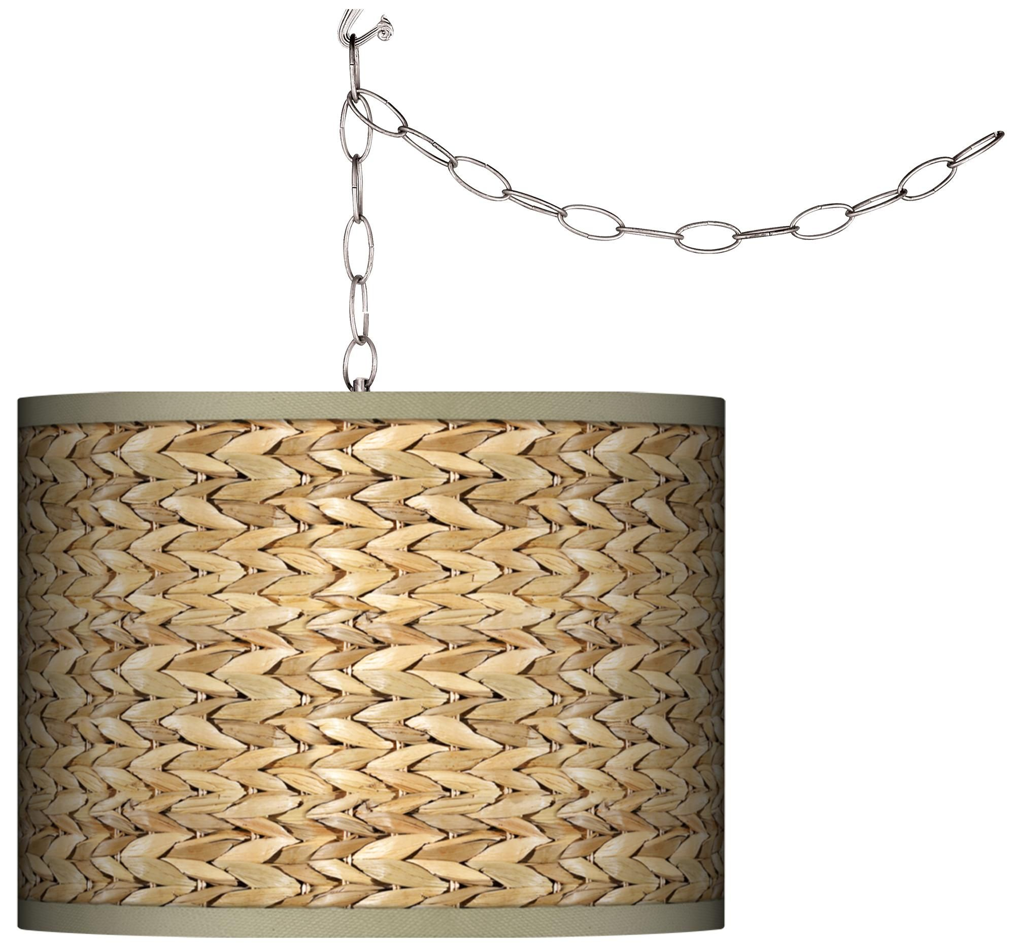 Seagrass Print Pattern 13 1 2 Wide Plug In Swag Chandelier 27g17 Lamps Plus Plug In Chandelier Plug In Pendant Light Swag Chandelier