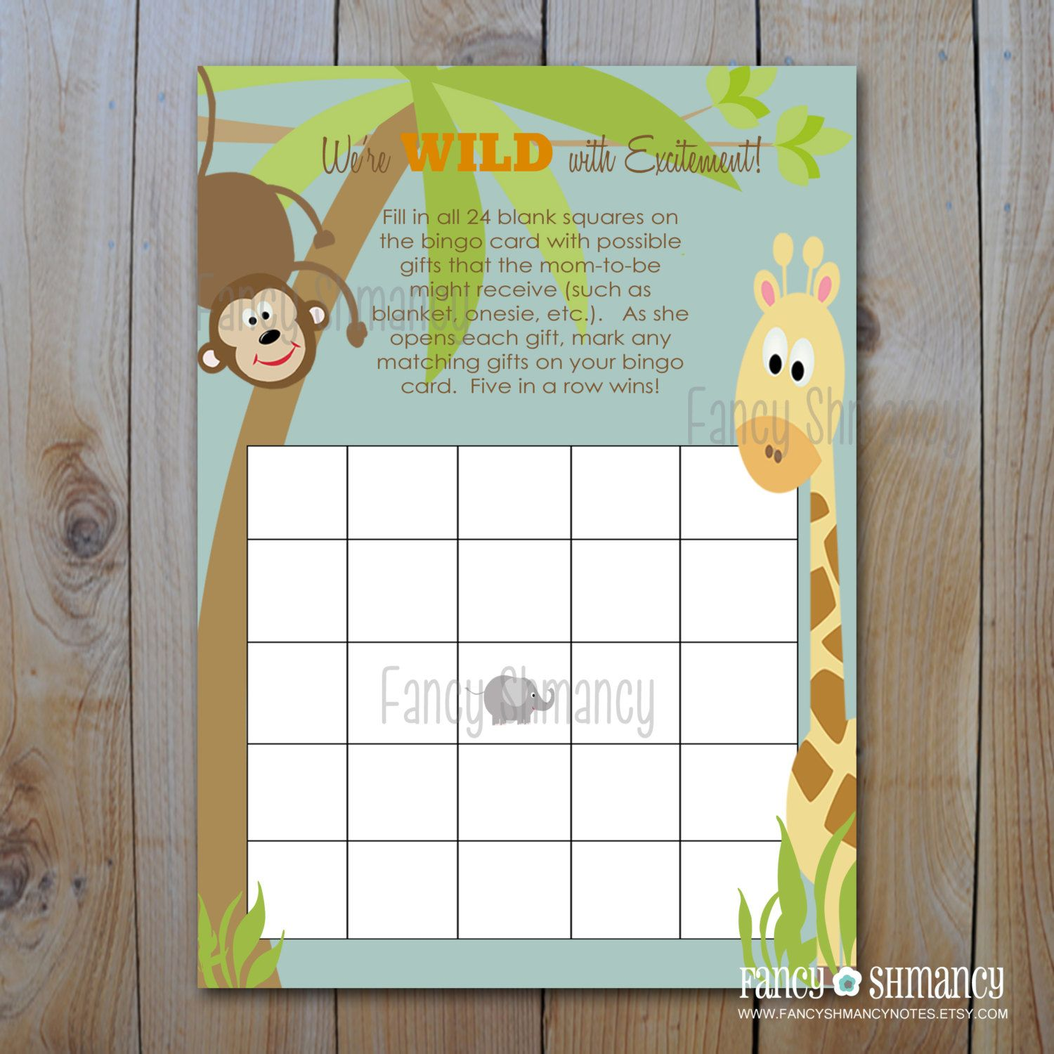 Baby Shower Bingo Game Cards Instant Download Jungle Theme Printable Baby Shower Game