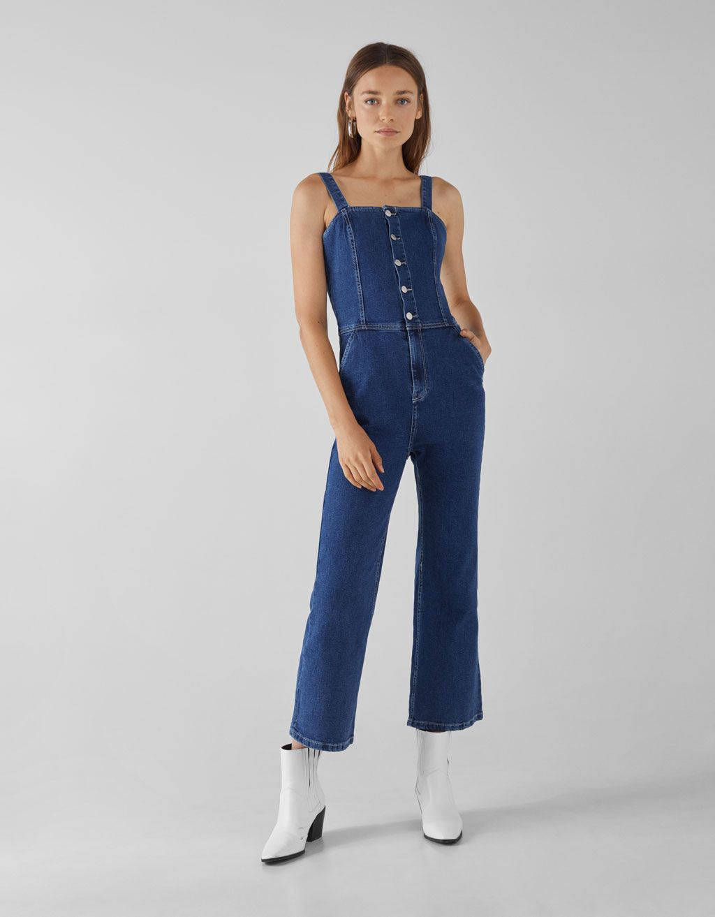 6c412e6b1ae6 Long denim dungarees with buttons - Bershka  newin  new fashion  clothes   party partycollection  trend  trendy  cool 2018  tendencia moda  outfit ...
