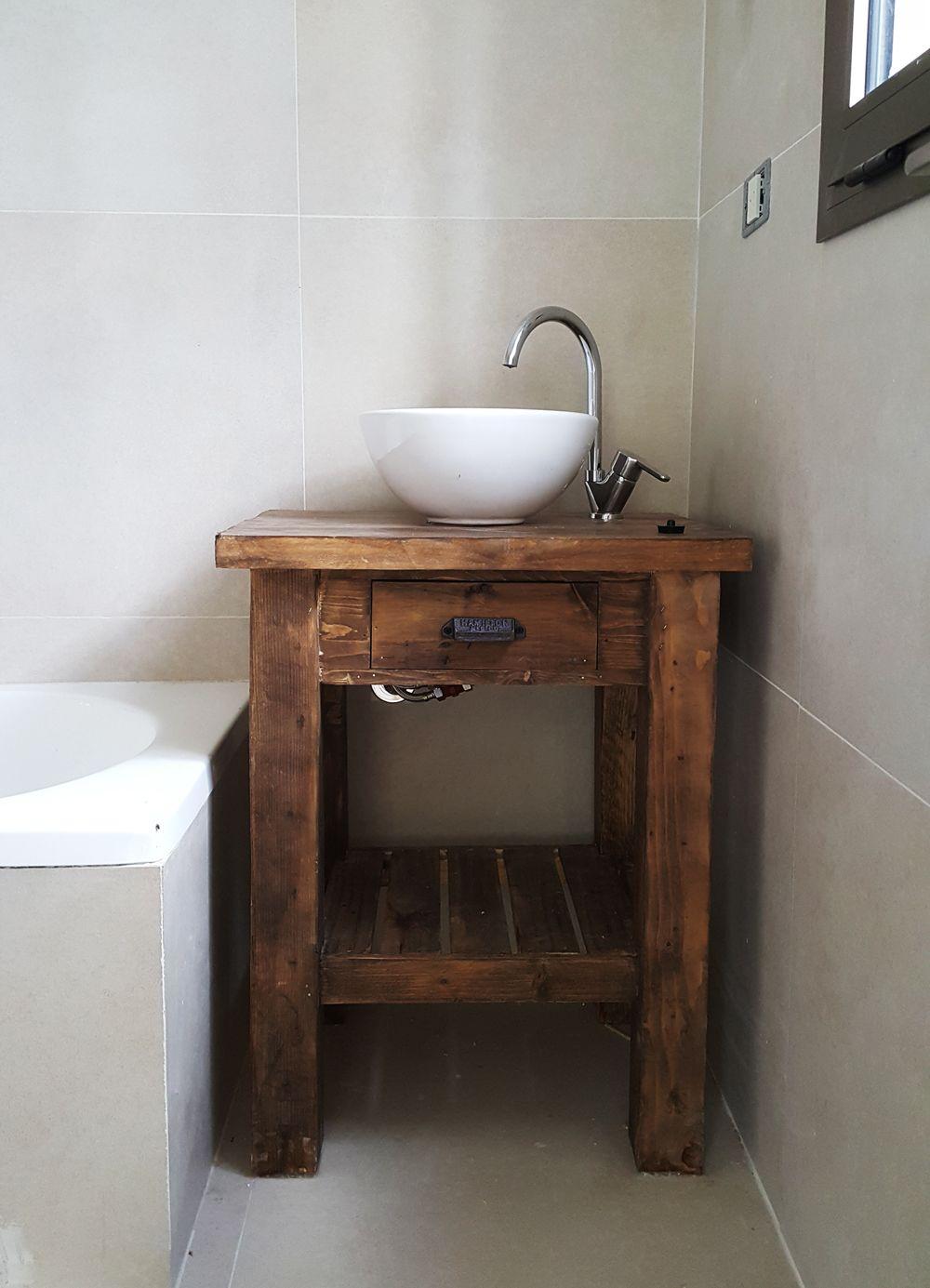 Vanitory 1 Cajon Y Deck Patas Rectas Muebles De Bano Rusticos