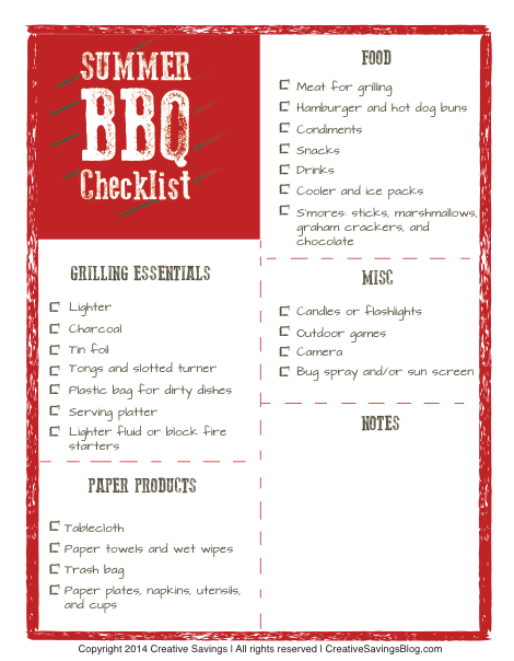 Free Summer Bbq Checklist  Picnics Note And Spaces