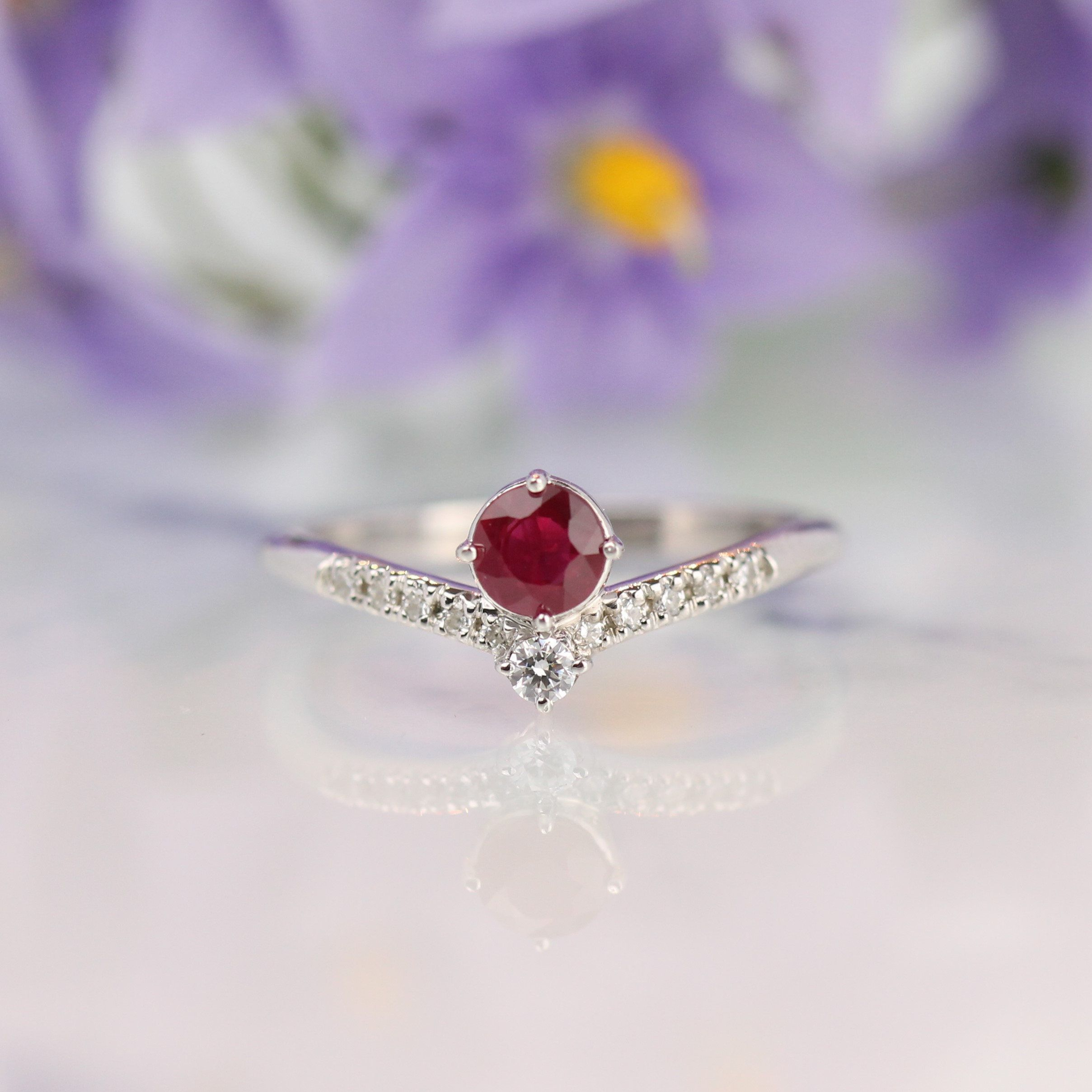 Engagement ring ruby ring ruby and diamond ring ruby engagement