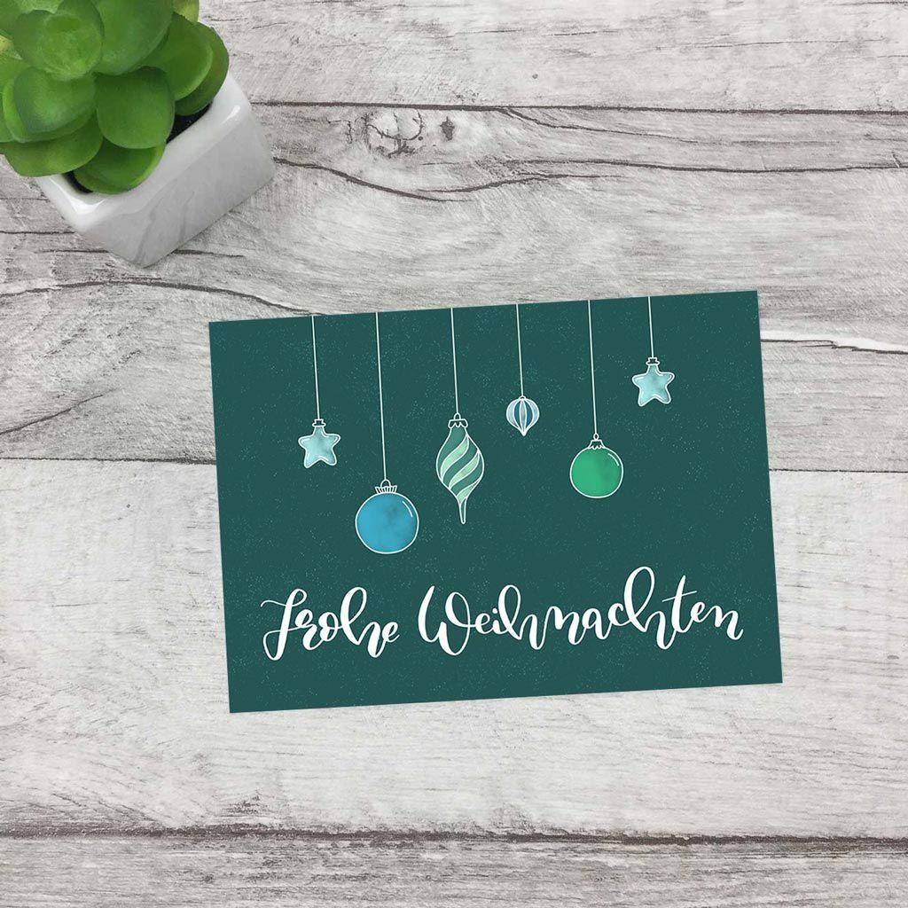 Frohe Weihnachten, Weihnachtskugeln, blau – Lettering Klappkarte, einzeln oder im 5er-Set