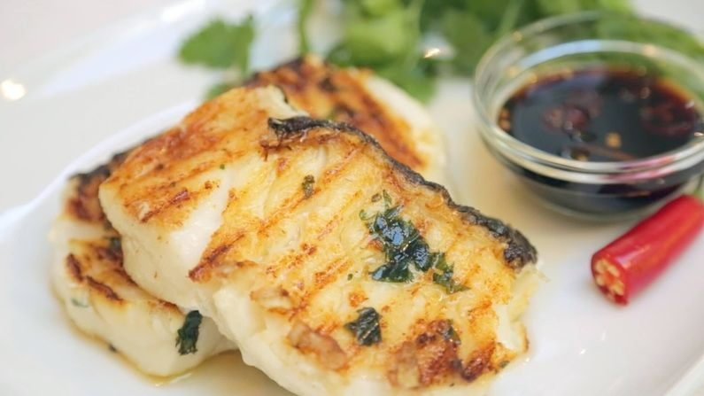 Asian Sea Bass (Grilled) with a Sweet Soy Ginger Sauce