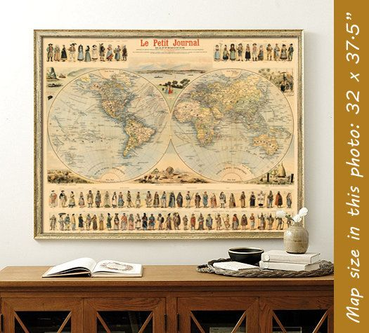 Antique map Historic world map Vintage map of by AncientShades - new antique world map images
