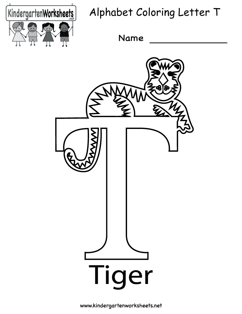 Coloring sheet of the letter t - Kindergarten Letter T Coloring Worksheet Printable
