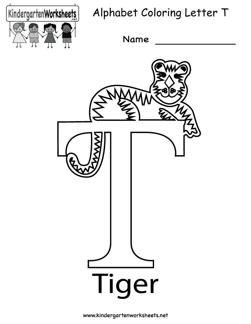Kindergarten Letter T Coloring Worksheet Printable