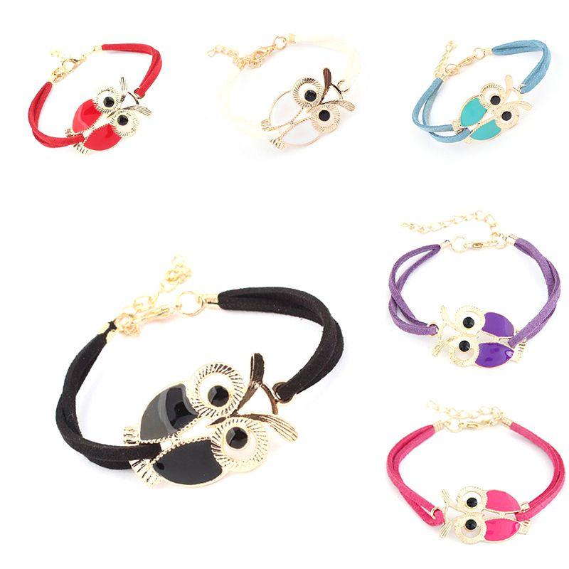 Grátis frete das mulheres novas Retro Animal coruja decoração Faux Leather Charm Bracelet para o natal presente de ano novo em Pulseira com pingentes de Jóias no AliExpress.com | Alibaba Group