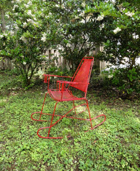 vintage metal outdoor rocking chair pinterest outdoor rocking