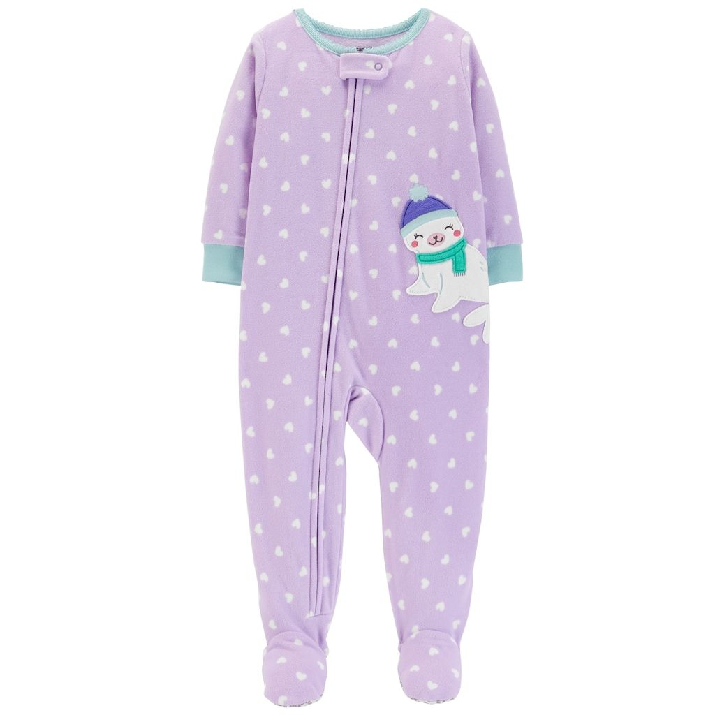 42b7445faad9 Carter s Toddler Girl Seal Heart-Dot Microfleece Footed Pajamas in ...