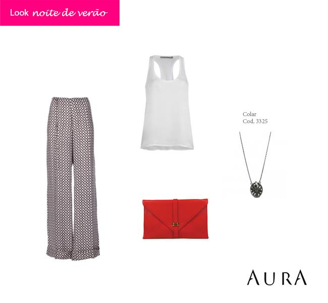 A pantalona e a blusa de cetim compõem um look super fresquinho, perfeito para aquele evento ou happy hour nas noites mais quentes. (Código do #Colar: 3325) #auraprata #looks #moda #joias
