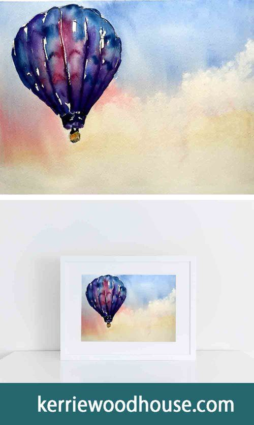 Rosy Sky Hot Air Balloons 4 Watercolour In 2020 Arches