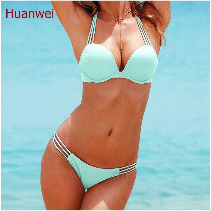 96dbe73f58dd Luz azul Trajes de Baño Push Up Bikini Brasileño Atractivo Del ...