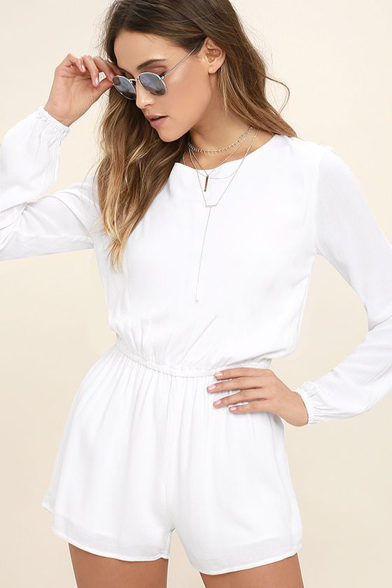 002a35a7015c Sexy White Romper - Backless Romper - Long Sleeve Romper -  54.00