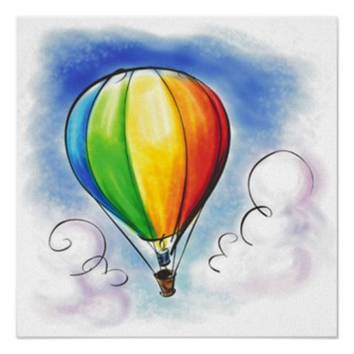 Colourful Hot Air Balloon Paint Poster Zazzle Com Hot Air