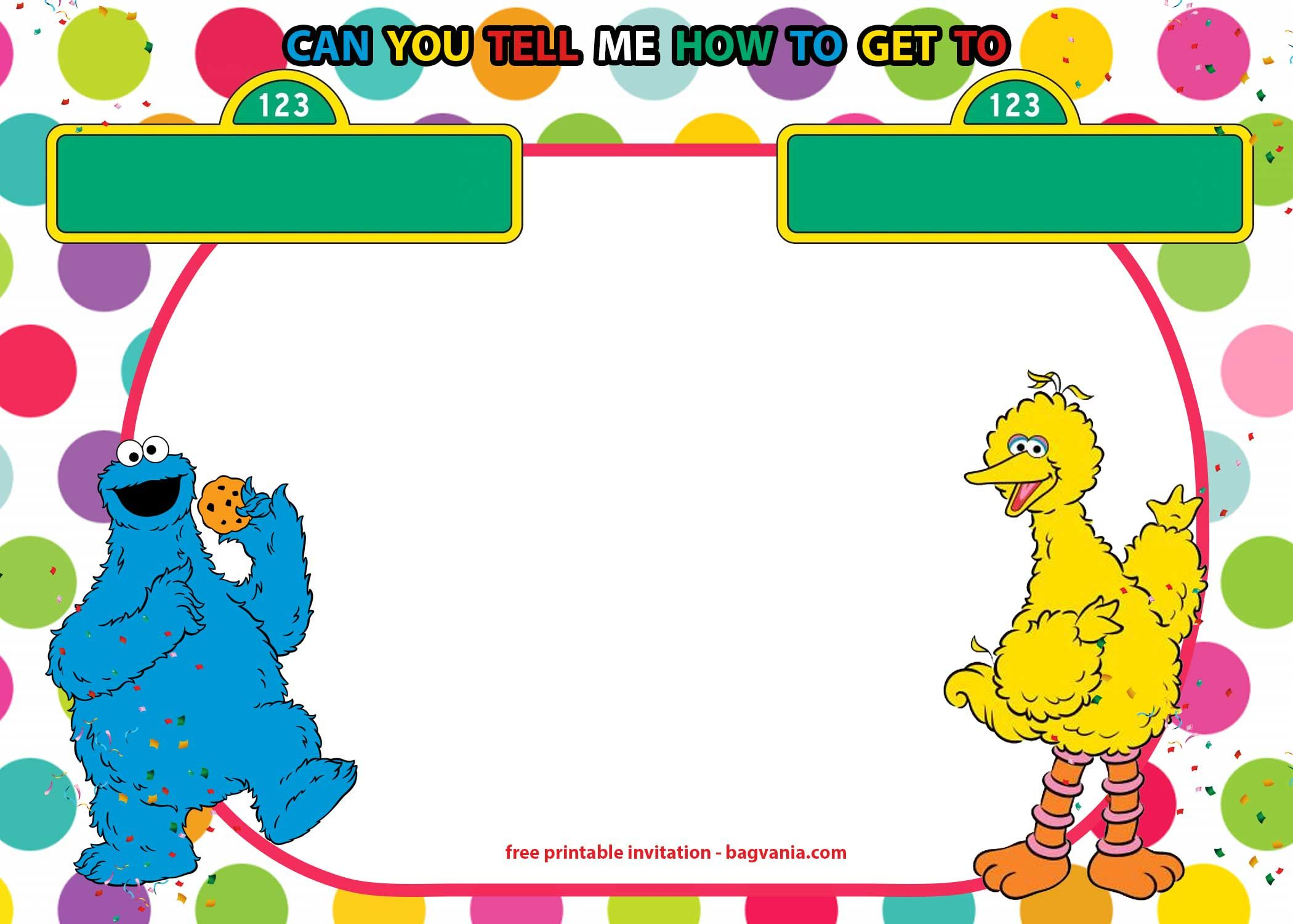 free sesame street invitations templates for twins