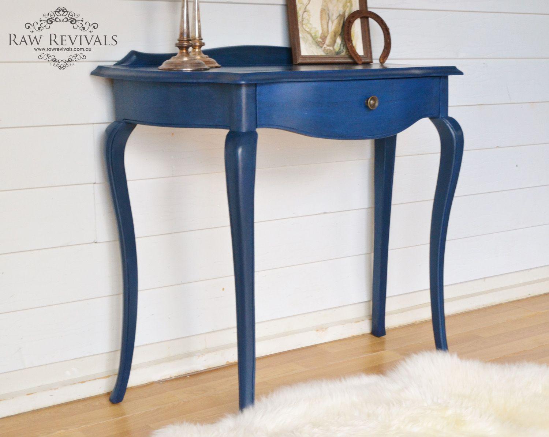 Vintage resorted sapphire blue hall table. furniture DIY furniture redo. www.rawrevivals.com.au