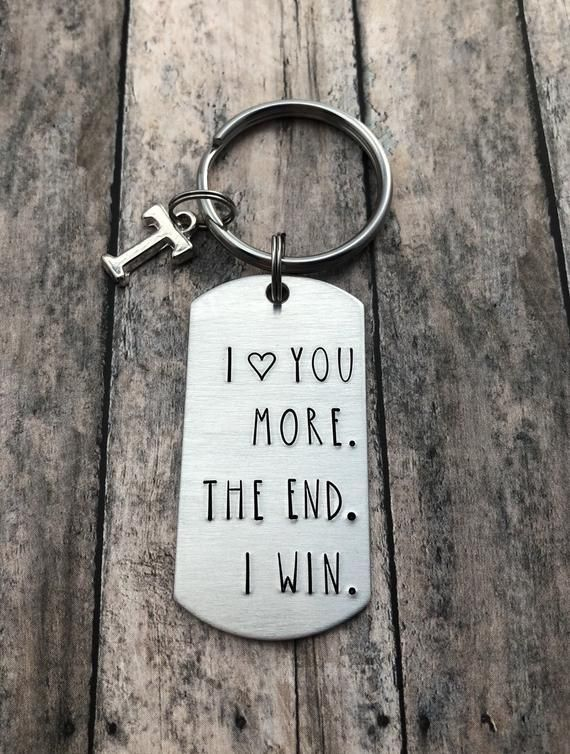 I love you more. The end. I win. Personalized Initial Key | Etsy
