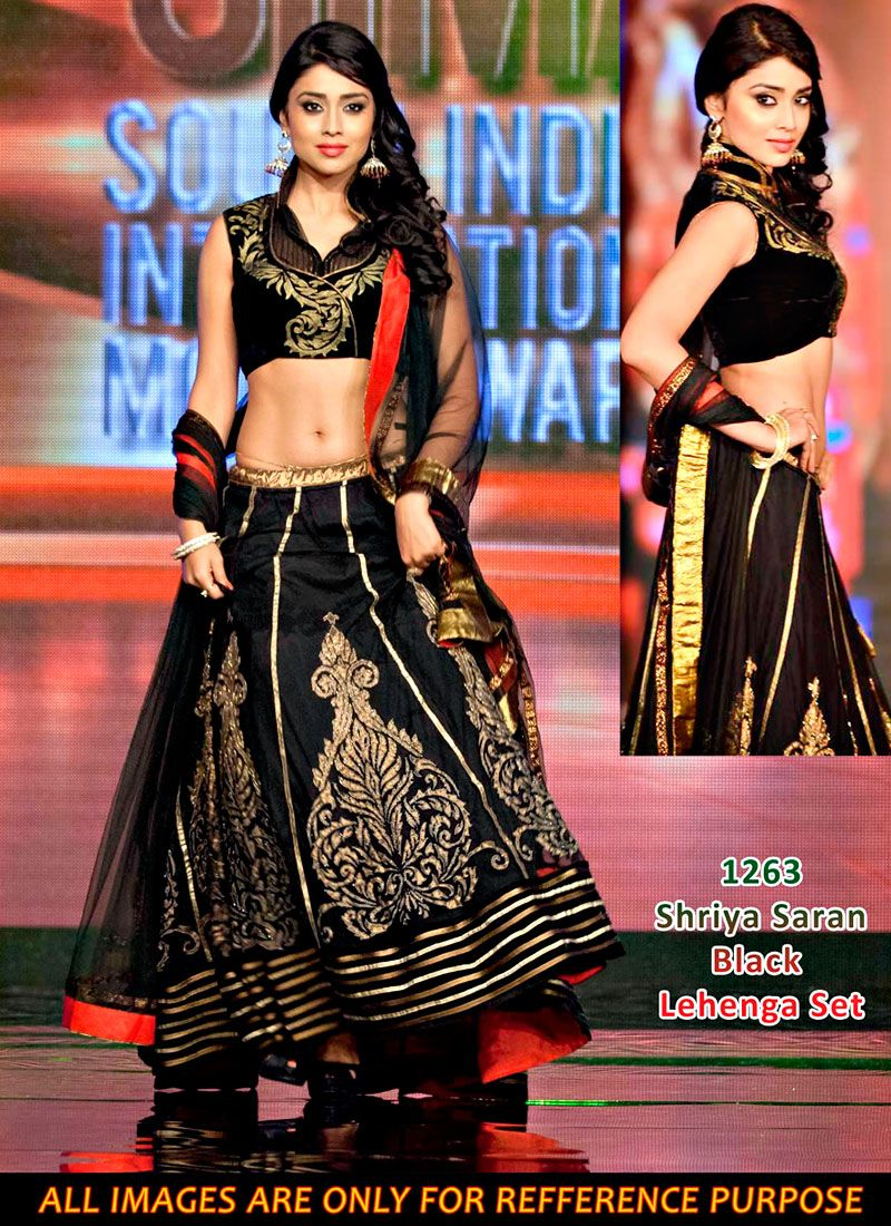 Shriya Saran Black Resham Work Velvet Lehenga Choli, Product Code :7673, shop now http://www.sareesaga.com/shriya-saran-black-resham-work-velvet-lehenga-choli-7673  Email :support@sareesaga.com What's App or Call : +91-9825192886