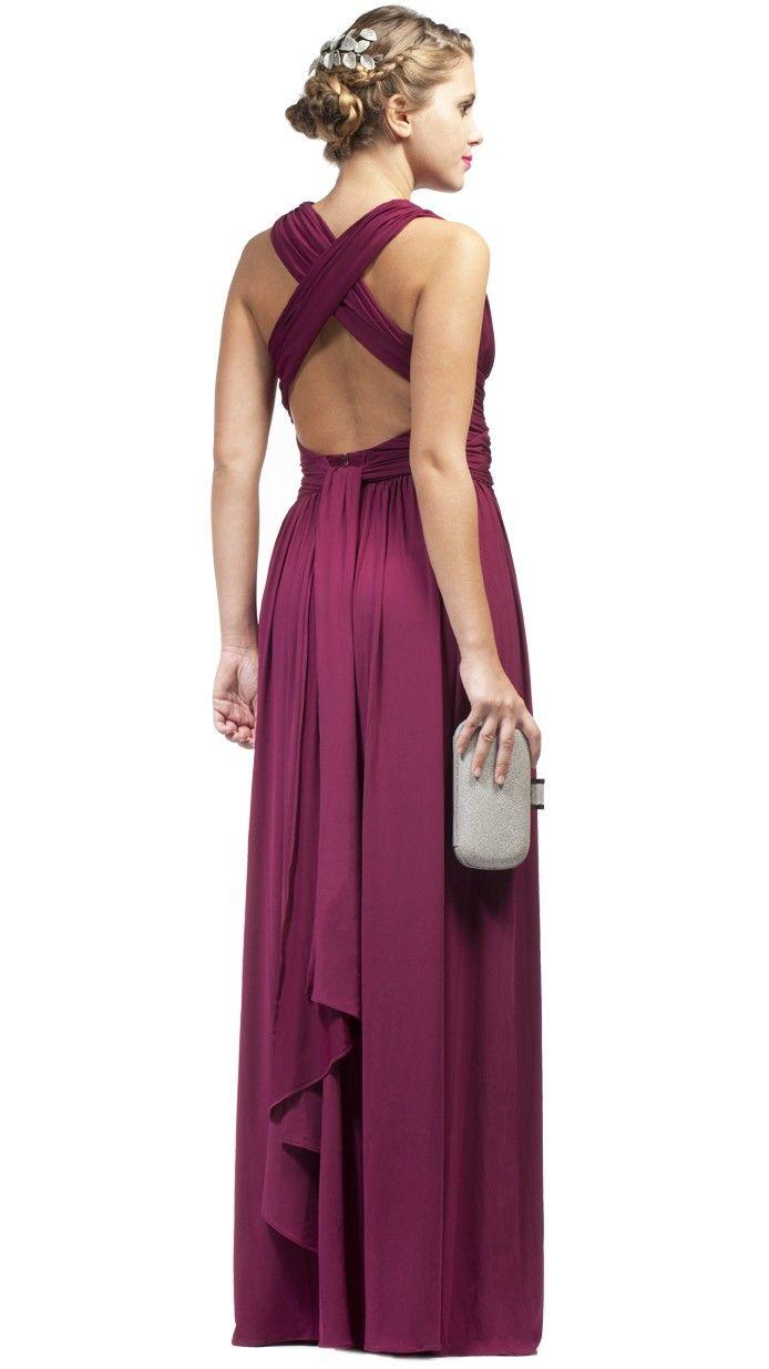 Vestido largo color burdeos