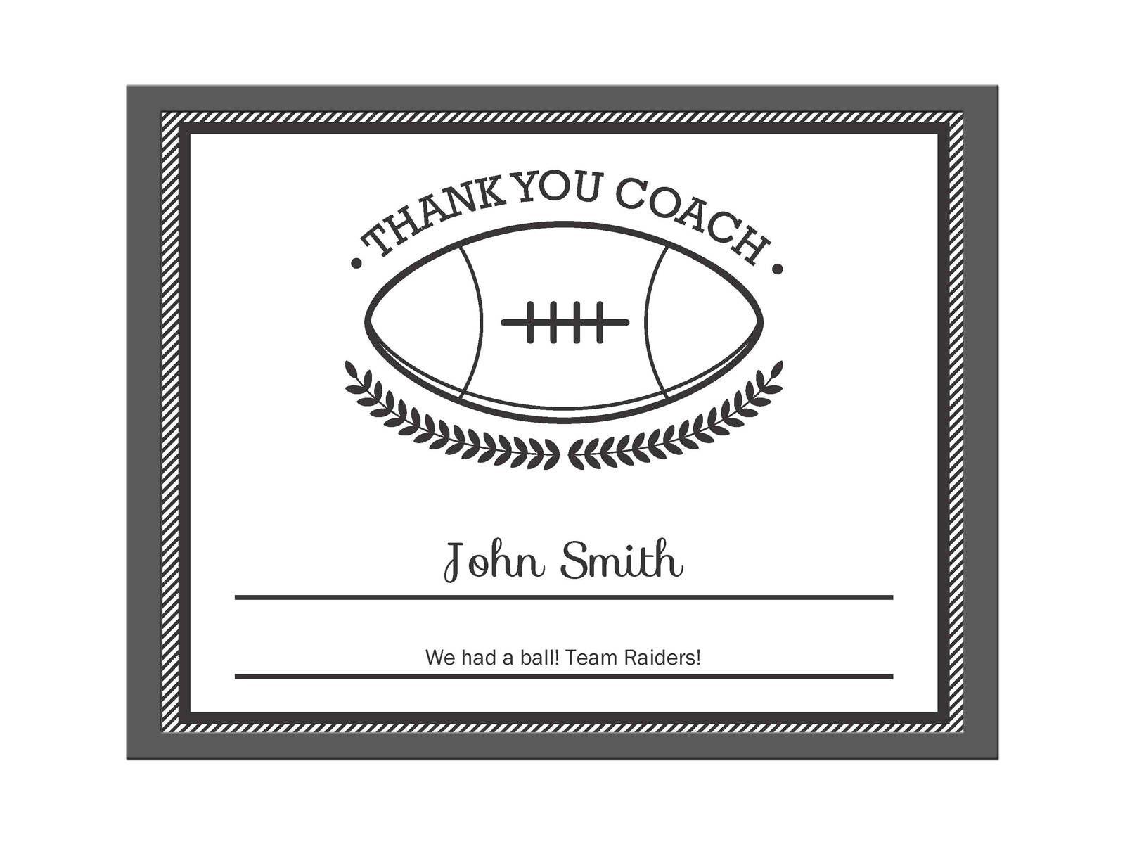 Editable Pdf Sports Team Football Thank You Coach Certificate Award