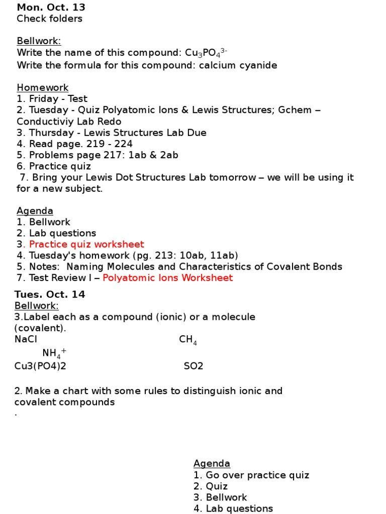 Naming Molecular Compounds Worksheet 10 13 to 10 17 in