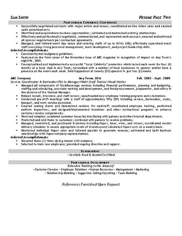 Hospitality Resume Example jobs Pinterest Resume examples