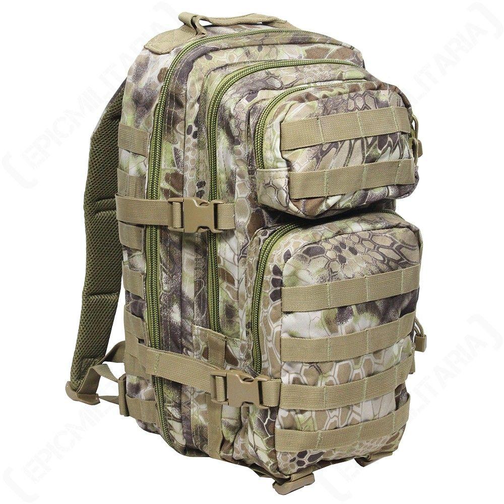 Internal Frame MIL-TEC 75L Military Army Ranger Hiking Rucksack Backpack in Black Olive and Flecktarn Camouflage