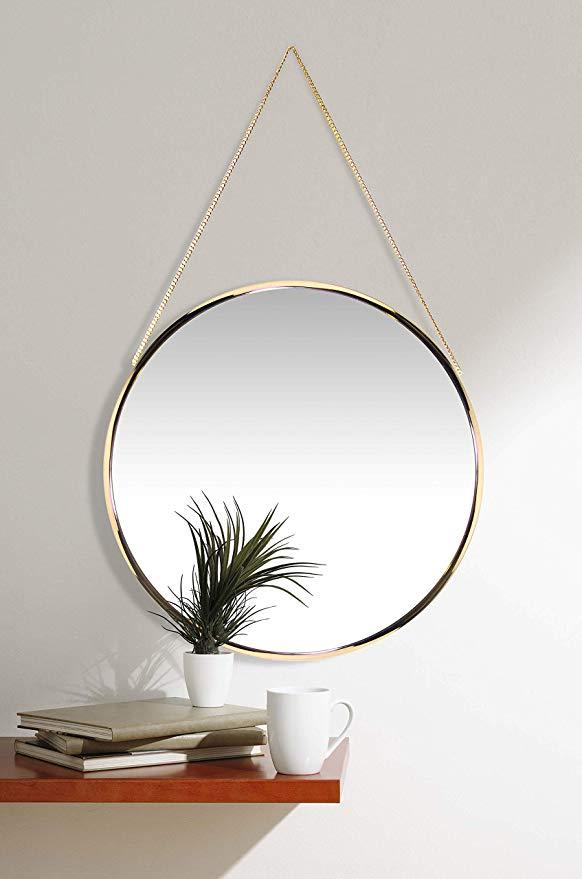 Amazon Com Franc Gold Round Wall Mirror Circular Gold Mirror On Chain 17 5 Inch Diameter Modern Glam Collectio Gold Mirror Wall Mirror Decor Mirror Wall