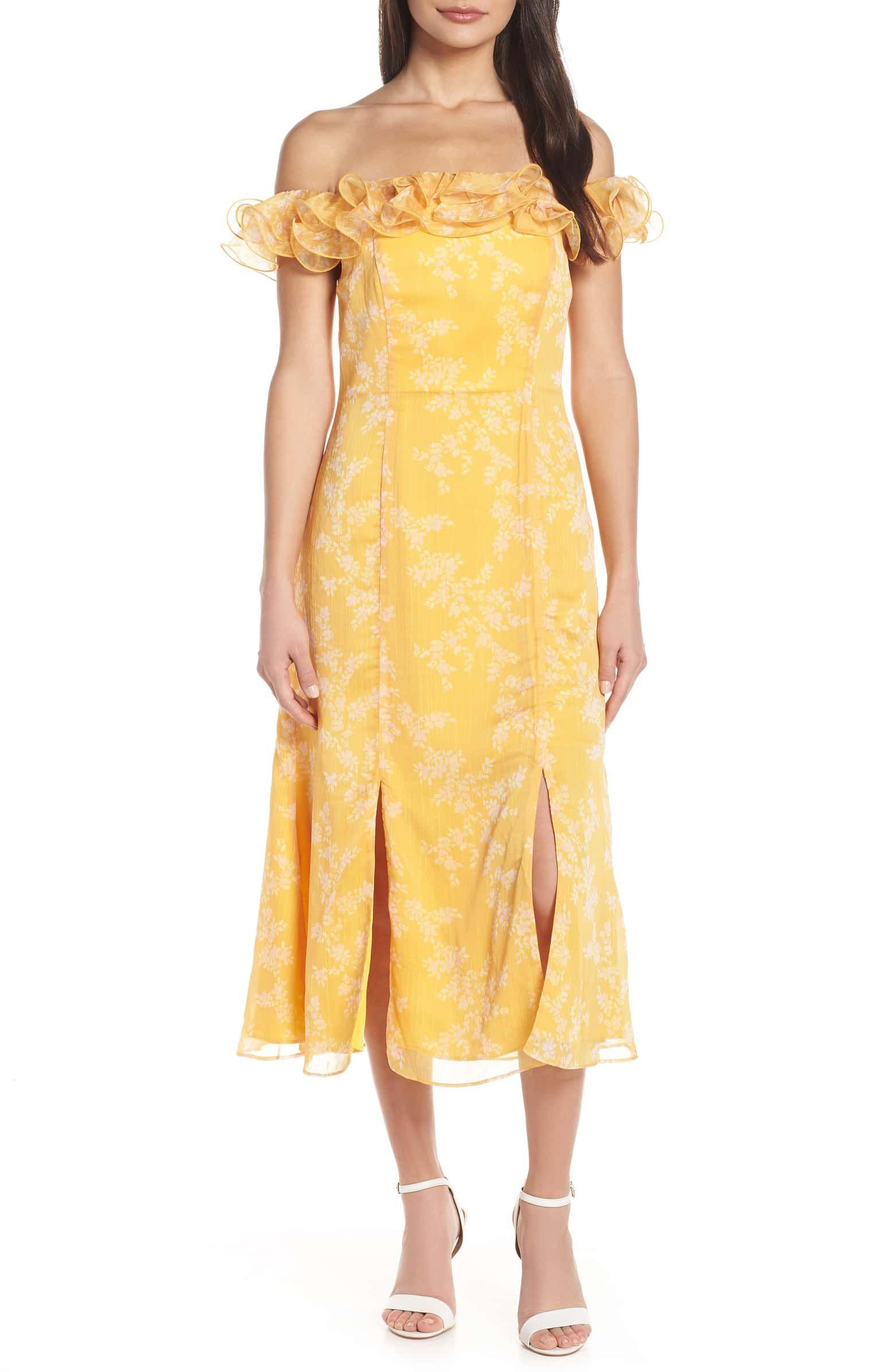 Embrace Ruffled Off The Shoulder Midi Dress Main Color Golden Floral Fashion Clothes Women Nordstrom Dresses Cocktail Dress Lace
