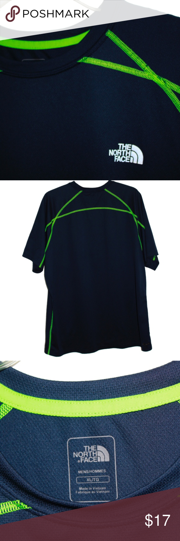 57daa6667 The North Face Navy Blue and Neon Green T-Shirt XL The North Face ...