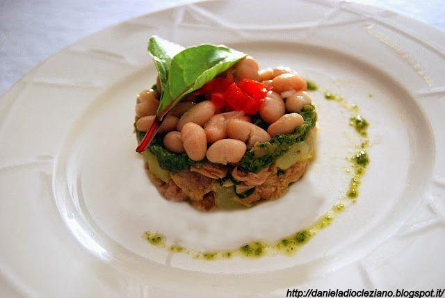 Daniela&Diocleziano: Tonno, con patate, cannellini e pesto di lattughe orientali