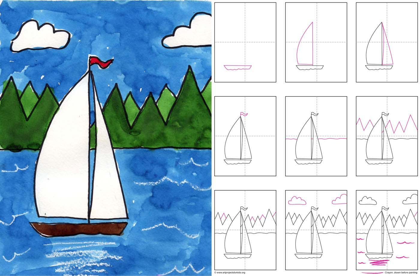 how to draw a sailboat (for age K and up)
