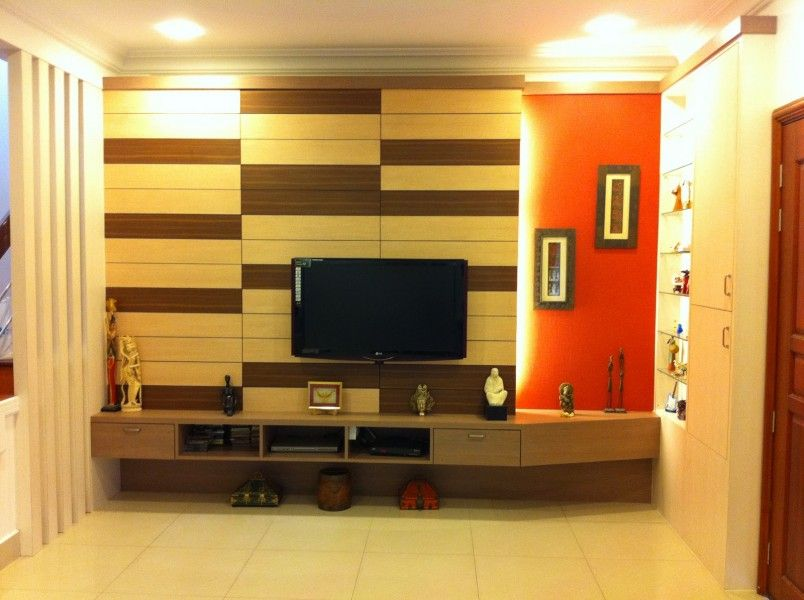 Simple Flat Screen TV Wall Design With Creative Padded Wooden Wall ...
