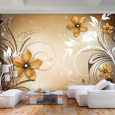 Vlies Fototapete Blumen Ornament 3d Effekt Tapete Wandbilder Xxl Wohnzimmer 3far Fototapete Blumen Fototapete Tapeten Wandbilder