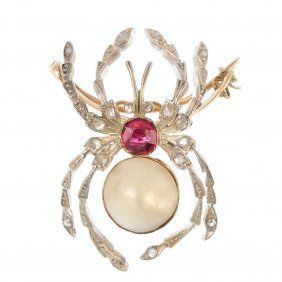 A Gem-set Spider Brooch.