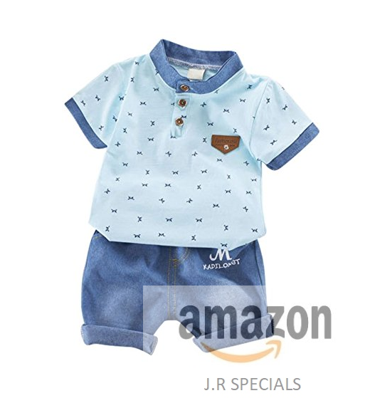 6b9944e45612 BOBORA Baby Boy Kids Summer Clothes Set Cartoon Whale Short Sleeved Tops  with Elastic Striped Short Pants