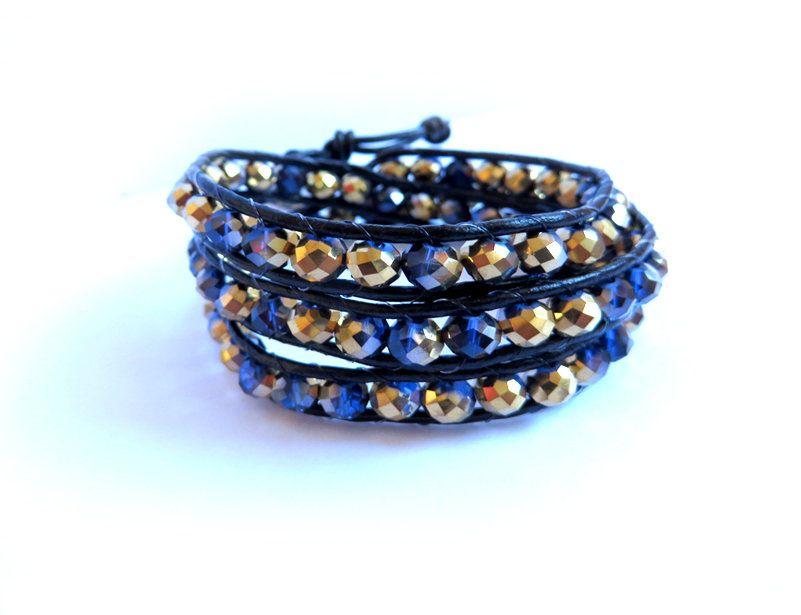 Bracciale donna cha luu style cuoio nero e perle in vetro sfaccettato, by Mosquitonero Shop, 15,90 € su misshobby.com