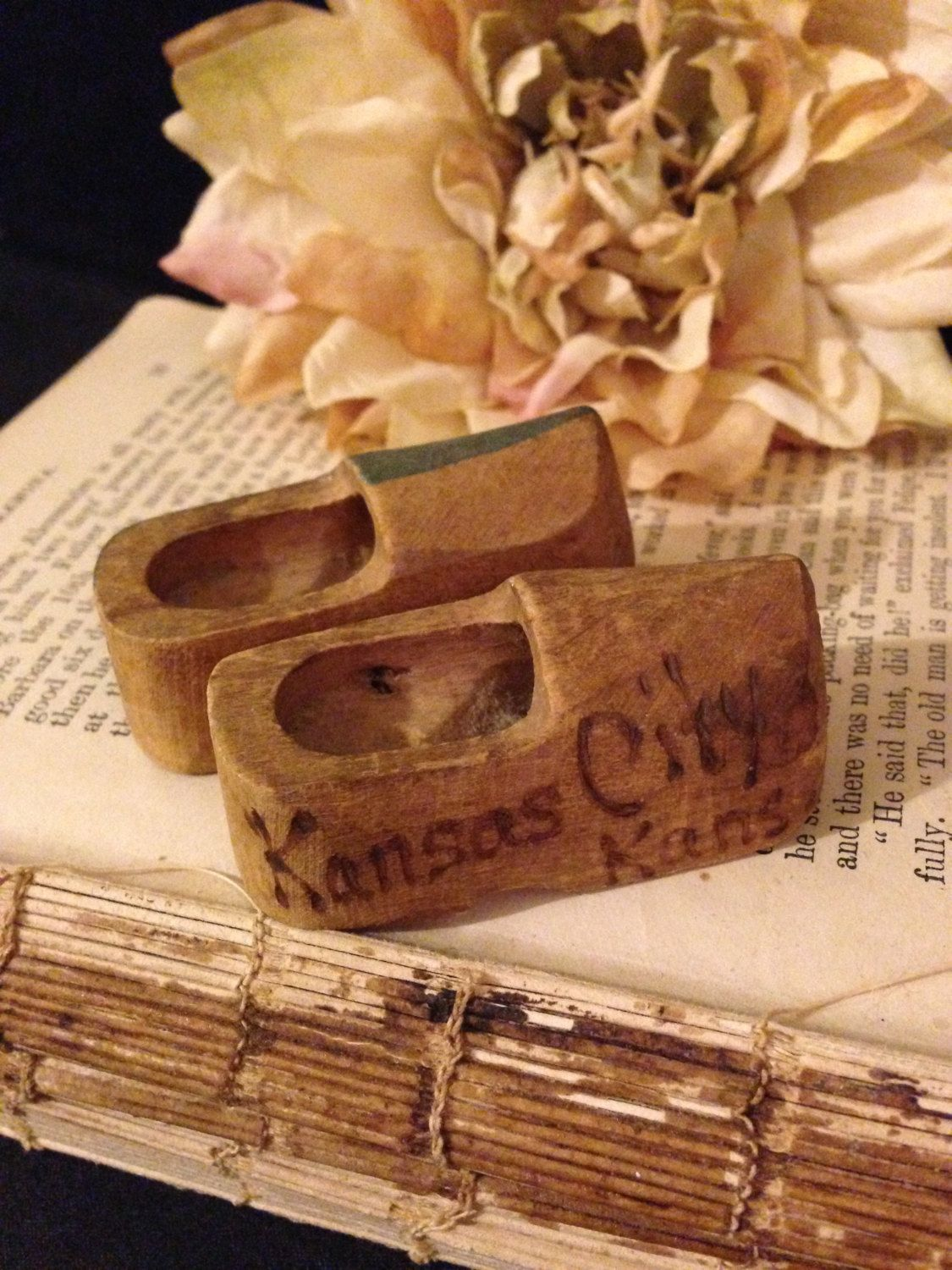 Miniature Wooden Clogs~ Kansas City Souvenir, Mini Dutch Shoes, Hand Painted, Hand Carved, Traveling Souvenir, State Keepsake by ThePokeyPoodle on Etsy