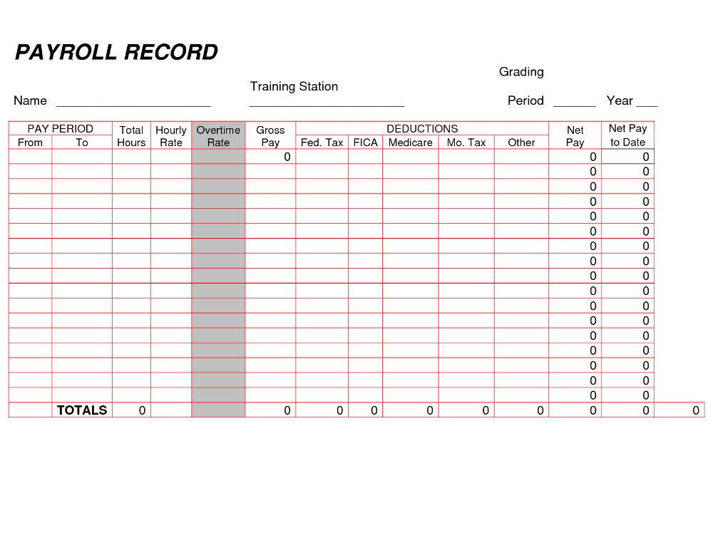 Printable Payroll Ledger Blank Record Pdf Workreadsheet For Small Business Spreadsheet Make Your Own Paycheck St Payroll Template Payroll Bookkeeping Templates