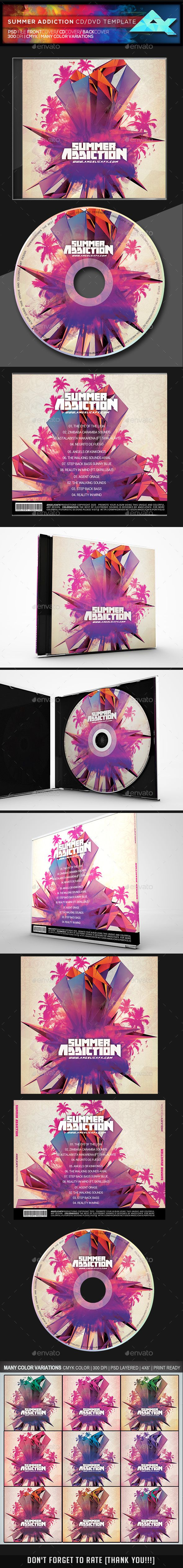 summer addiction cd dvd template psd cd dvd cover templates