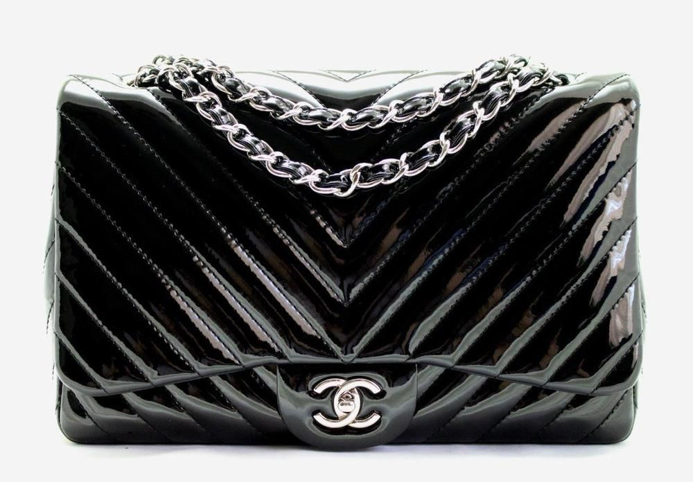 7161014d82a5 CHANEL JUMBO Black Patent Leather