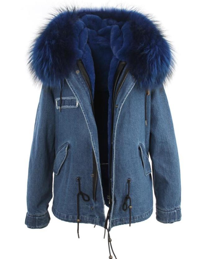 Womens Hooded Denim Winter Jean Jacket Faux Fur Collar Warm Lined Parka Coat Hot