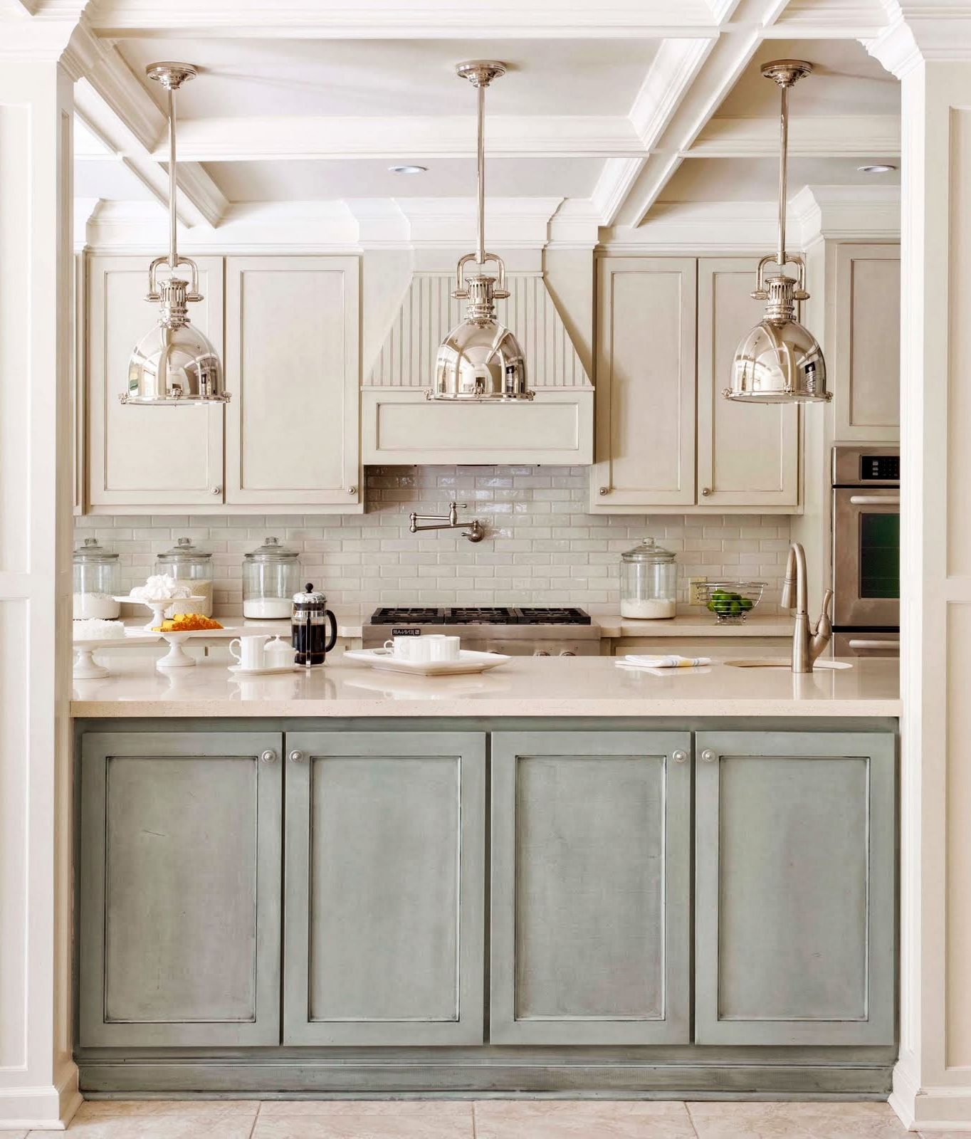 Kitchen , Romantic Cooking Space Through Shabby Chic Kitchen Ideas : Shabby  Chic Kitchen With Classy Lamp Ideas
