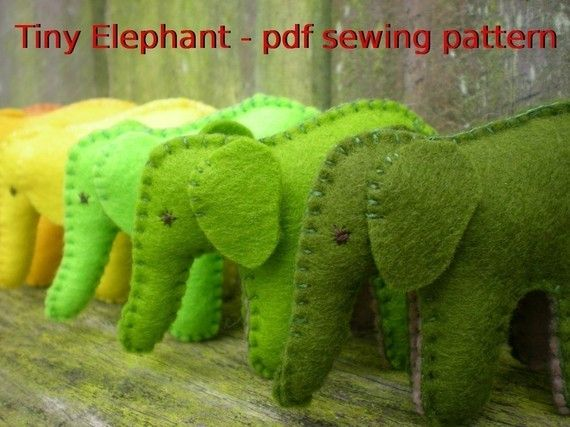 tiny elephant pdf pattern from tiddliwinktoys on etsy | I am STUFFED ...