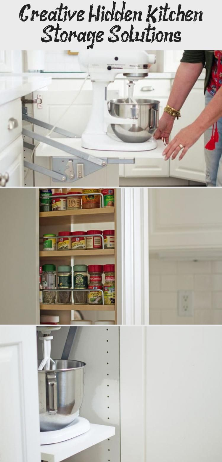 creative hidden kitchen storage solutions - kitchen decor in 2020 | kitchen storage solutions